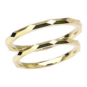 愛の絆を深める18金ゴールドペアリング 結婚指輪 マリッジリング 記念日 ペアリング プレゼント シンプル デザインカットリング 指輪 K18 ゴールド 地金リング