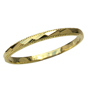 婚約指輪 地金リング デザインカットリング シンプル K18 ゴールド メンズ 指輪 送料無料 父の日 バレンタイン