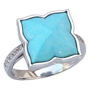 ターコイズリング トルコ石リング ダイヤモンド 0.08ct ホワイトゴールド 指輪 ターコイズブルー 送料無料 カジュアル