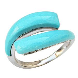ターコイズリング トルコ石リング ダイヤモンド 0.17ct K18ホワイトゴールド 指輪 送料無料 カジュアル