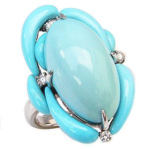 ターコイズリング トルコ石リング ダイヤモンド 0.08ct K18ホワイトゴールド 指輪 送料無料 カジュアル