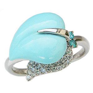 ターコイズリング トルコ石リング ダイヤモンド 0.20ct パライバトルマリン ホワイトゴールド 指輪 送料無料 カジュアル