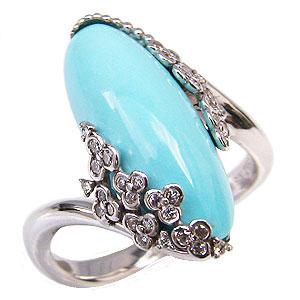 ターコイズリング トルコ石リング ダイヤモンド 0.19ct K18ホワイトゴールド 指輪 送料無料 カジュアル