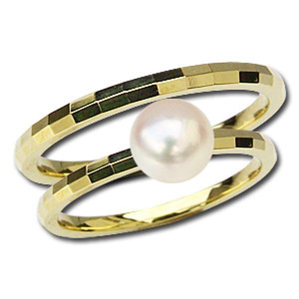 ぺアリング マリッジリング パールリング 真珠 指輪 パール リング 地金リング シンプル k18 イエローゴールド デザインカットリング 結婚指輪 プレゼント 記念日 アクセサリー ジュエリー 人気 おすすめ カジュアル トレンド ギフト