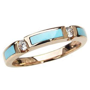 ターコイズ トルコ石 リング ダイヤモンド 0.10ct ピンクゴールド K18 指輪 送料無料 カジュアル