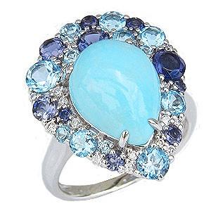 ターコイズリング トルコ石リング ダイヤモンド ブルートパーズ アイオライト プラチナ 指輪 送料無料 カジュアル