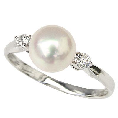 パールリング レディース 真珠の指輪 あこや本真珠 ダイヤモンド 18金 K18WGホワイトゴールド 0.10ct 7mm アコヤ 真珠指輪 記念日 ケース付 冠婚葬祭 真珠婚 プレゼント 品質保証書付 ラッピング無料 送料無料 普段使い