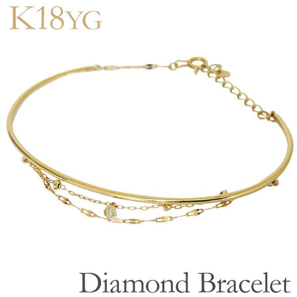 ブレスレット バングル 丸線ベースマルチチェーン ダイヤモンド K18イエローゴールド レディース
