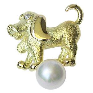 ラペルピン メンズ 男性用 真珠 パール ブローチ あこや本真珠 K18 ゴールド ピンブローチ タイニーピン 6mm ドッグ 犬 送料無料 父の日 バレンタイン