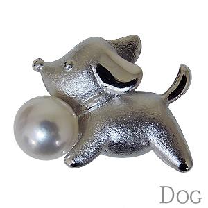 パール ブローチ ラペルピン 真珠 アコヤ真珠 あこや真珠 仔犬 DOG 男女兼用 ユニセックス 送料無料 品質保証書付き ケース付き ギフト プレゼント 誕生日 記念日
