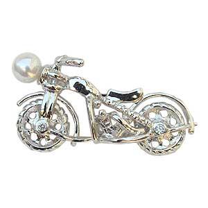 ラペルピン ブローチ 真珠 パール オートバイ バイク あこや本真珠 ピンズ 送料無料 父の日 バレンタイン
