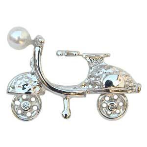 ラペルピン ブローチ 真珠 パール スクーター バイク あこや本真珠 ピンズ 送料無料 父の日 バレンタイン