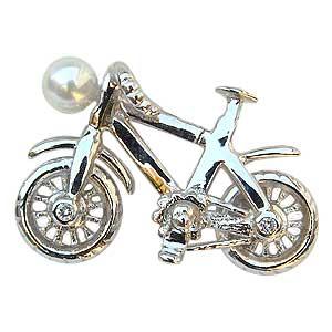 ブローチ 真珠 パール オートバイ バイク あこや本真珠 ピンズ ピンブローチ ラペルピン 送料無料