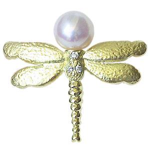 ブローチ とんぼ 真珠 パール K18 ゴールド ピンブローチ ラペルピン タイニーピン 6-6.5mm 18金 送料無料 アンティーク調