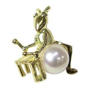 パール 真珠 ピンブローチ ラペルピン あこや本真珠 K18 ゴールド 7mm珠 ホワイトピンク系 きりぎりす キリギリス 打楽器 ダイヤモンド 送料無料