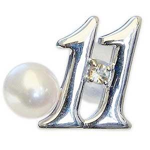 真珠 パール ブローチ ラッキーナンバー11 タイニーピン ホワイトゴールド ベビーパール 11月誕生石 インペリアルトパーズ