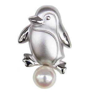 ペンギン ブローチ パール 真珠 ピンブローチ ラペルピン シルバー メンズ 男性用 ぺんぎん ピンズ メンズアクセサリー 送料無料 父の日 バレンタイン
