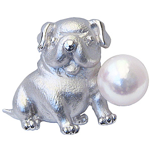 ブローチ パール あこや真珠 ピンブローチ ラペルピン シルバー パグ犬 男性用 ラペルピン 真珠ブローチ 父の日 バレンタイン