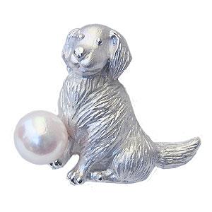 パールブローチ 真珠 ピンズ あこや本真珠 7mm-7.5mm ピンクホワイト系 ゴールデンレトリバー 犬 ピンブローチ ラペルピン 送料無料