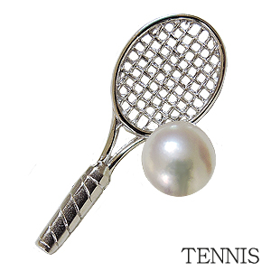 ブローチ テニスピンズ メンズブローチ テニスラケット メンズブローチ パール 真珠 ラペルピン あこや本真珠 6mm ピンブローチ TENNIS シルバー SV 送料無料 ギフト 父の日 バレンタイン