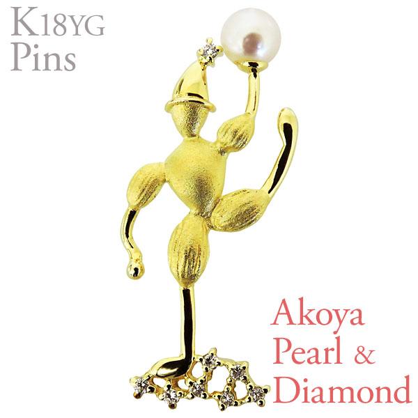 ブローチ ピンズ ピエロ ポーズB あこや本真珠 5mm ダイヤモンド K18 イエローゴールド レディース アンティーク調