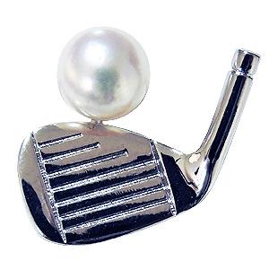 パール メンズ ブローチ ゴルフクラブ 真珠ピンズ ラペルピン あこや本真珠 6mm アコヤ真珠 シルバー ピン 父の日 バレンタイン