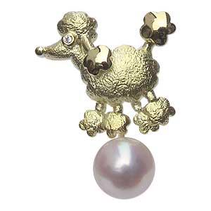 ブローチ 真珠 犬 パール あこや本真珠 K18 ゴールド ピンブローチ ラペルピン タイニーピン 4mm 0.01ct 戌送料無料