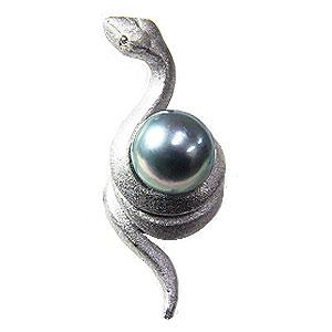ブローチ パール あこや真珠 へび 干支 ピンブローチ ラペルピン シルバー 送料無料