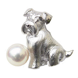 ブローチ パール あこや真珠パール ピンブローチ ラペルピン シルバー ミニチュアシュナウザー犬 6月誕生石