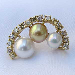 真珠 パール ブローチ 兼用 ペンダント 南洋白蝶真珠 11mm 10mm