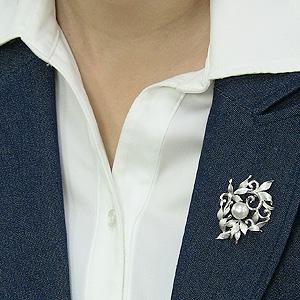 入学式 卒業式 パール 真珠 ブローチ ペンダントブローチ 南洋白蝶真珠 ホワイト系 直径10mm SV シルバー ブローチ 送料無料 フォーマル アンティーク調kuPZXi