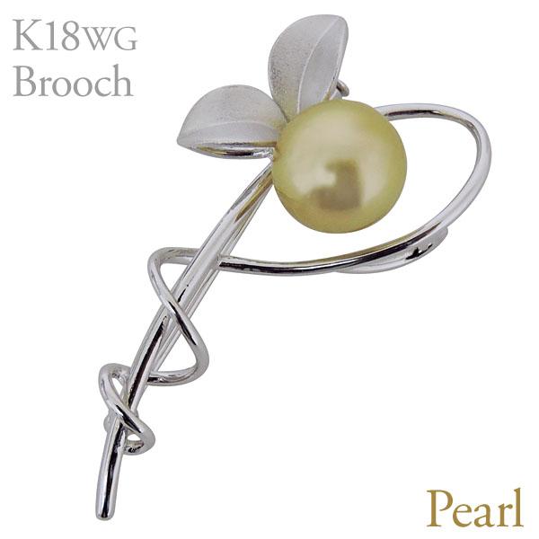 ブローチ 植物モチーフデザインC ゴールド系パール 南洋白蝶真珠 10mm K18 ホワイトゴールド レディース