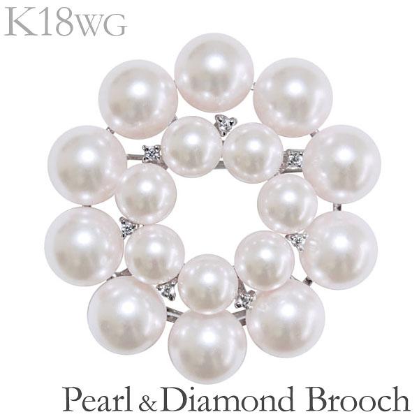 卒業式 入学式 入学式 ブローチ 花 複数珠 マルチプル ペンダント兼用 あこや本真珠 0.07ct ダイヤモンド K18ホワイトゴールド レディース アンティーク調