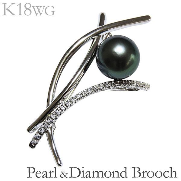母の日 ブローチ 花 枝イメージ 珠色グリーン系 10mm大珠 タヒチ黒蝶真珠 0.12ct ダイヤモンド K18ホワイトゴールド レディース アンティーク調