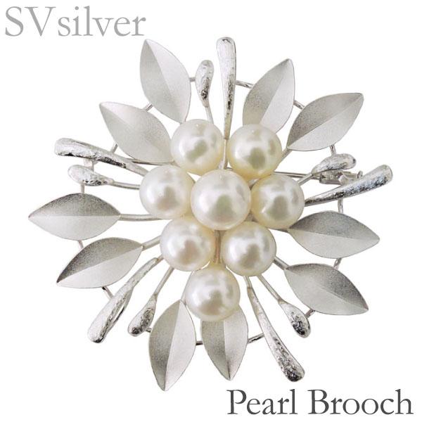 母の日 ブローチ 花 月桂樹 葉 モチーフ 複数珠 マルチプル あこや本真珠 SVシルバー レディース アンティーク調