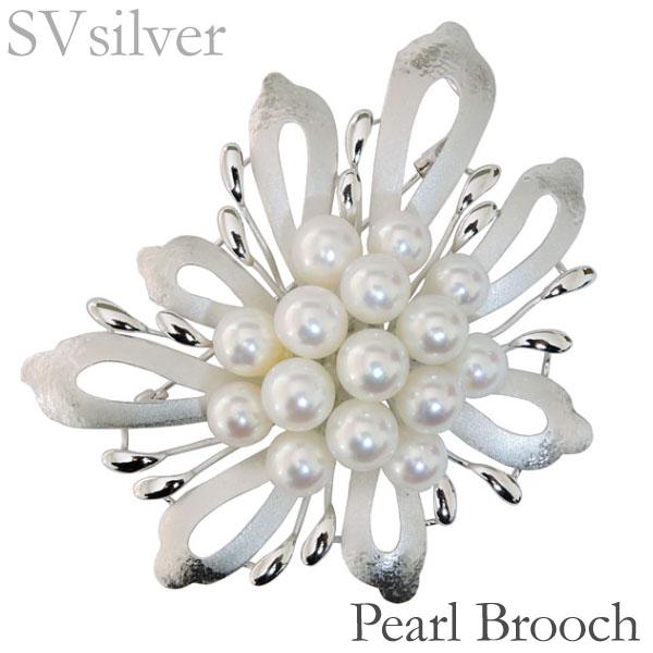 母の日 ブローチ 花 フラワー モチーフ マルチプル 複数珠 あこや本真珠 7mm×15個 SVシルバー レディース アンティーク調