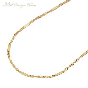 チェーン イエローゴールド K10 k10 10金 デザインチェーン 40cm ゴールドチェーン 地金チェーン 品質保証書付き ケース付き