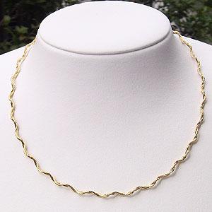 チェーン デザイン ネックレス K18 ゴールド スプリング ウェーブ オメガ ネックレス 42cm