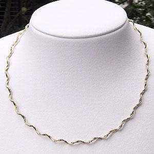 チェーン ネックレス 贈り物 K18 ゴールド K18WG ホワイトゴールド スプリング ウェーブ オメガ ネックレス 贈り物 42cm カジュアル