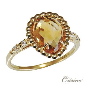 指輪 レディース K18 ゴールド シトリン リング 黄水晶 しずく型 ダイヤモンド 11月誕生石 ギフト プレゼント 送料無料 ラッピング無料 ケース付き 誕生日 クリスマス ホワイトデー 18金