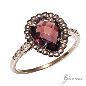 リング レディース K18 ピンクゴールド ガーネット 指輪 しずく型 ダイヤモンド 1月誕生石 柘榴石 ギフト プレゼント 送料無料 ラッピング無料 ケース付き 誕生日 クリスマス ホワイトデー