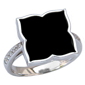 オニキスリング オニキス指輪 黒瑪瑙 黒メノウ ダイヤモンド 0.08ct ホワイトゴールド リング 指輪 K18WG 18金 送料無料 8月誕生石 Onyx 誕生日プレゼント ホワイトデー クリスマスプレゼント カジュアル
