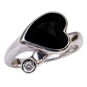 オニキスリング オニキス指輪 黒瑪瑙 ハートモチーフ ダイヤモンド 0.03ct ホワイトゴールド 指輪 送料無料 8月誕生石 黒メノウ Onyx 誕生日プレゼント ホワイトデー クリスマスプレゼント カジュアル