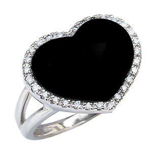 オニキスリング オニキス 黒瑪瑙 リング 指輪 ハートリング ダイヤモンド 0.15ct K18 ホワイトゴールド 送料無料 8月誕生石 Onyx 誕生日プレゼント ホワイトデー クリスマスプレゼント カジュアル
