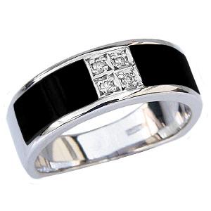 オニキスメンズリング オニキス男性用指輪 黒メノウ ダイヤモンド メンズ指輪 オニキス 男性用リング パワーストーン オニキスリング オニキス指輪 ホワイトゴールド K18WG 18金 黒メノウリング 8月誕生石 黒瑪瑙 指輪 送料無料