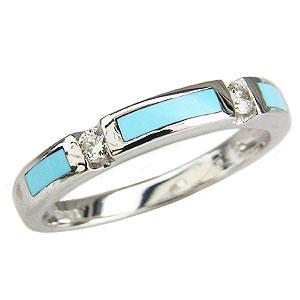 母の日 2019 ターコイズ トルコ石 リング ダイヤモンド 0.10ct ホワイトゴールド K18WG 指輪 スリーピングビューティー