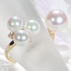パールリング レディース 母の日 あこや本真珠 ダイヤモンド 18YG 6-6.5mm 真珠リング ダイヤ 8-8.5mm 18金 C型リング フォークリング 可愛い 人気指輪 記念日 イエローゴールド 6月誕生石 ギフト プレゼント 品質保証書 送料無料