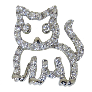 ブローチ 猫 ねこ メンズ 男性用 ダイヤモンドブローチ ピンズ キャット cat ラペルピン ダイヤモンド K18 ホワイトゴールド メンズジュエリー 4月誕生石 男女兼用 品質保証書付 ケース付 送料無料 クリスマス 父の日 バレンタイン