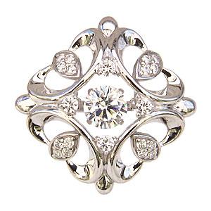 ブローチ タイニーピン メンズ K18WG ホワイトゴールド ダイヤモンド ダンシングストーン トゥインクルセッティング 送料無料 クリスマス アンティーク調 父の日 バレンタイン