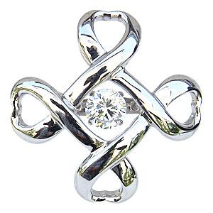 ブローチ ダンシングストーン 一粒 ダイヤモンド 0.50ct タイニーピン K18WG ホワイトゴールド トゥインクルセッティング クロス 送料無料 クリスマス アンティーク調 父の日 バレンタイン